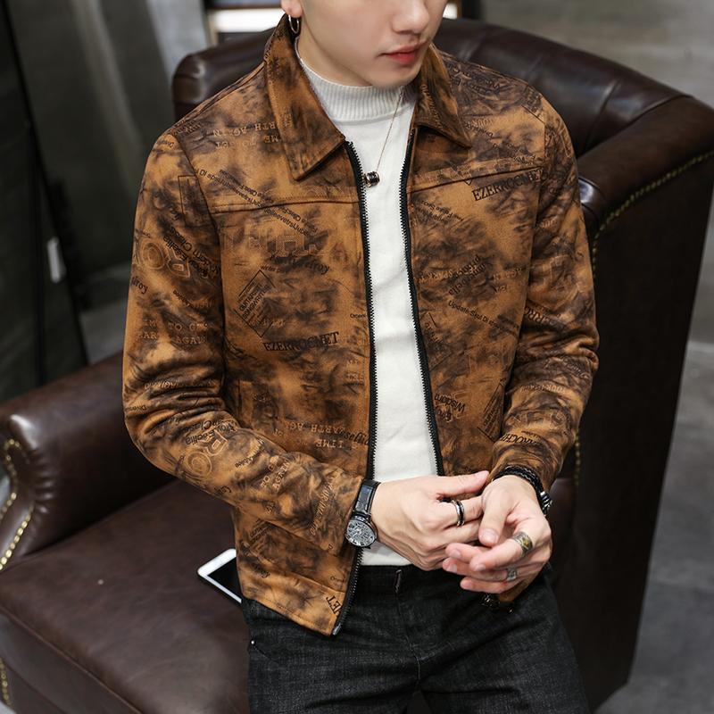 f9983a378 Winter Suede Jacket Mens Printed Bomber Jackets Fall Fashion Jaqueta ...
