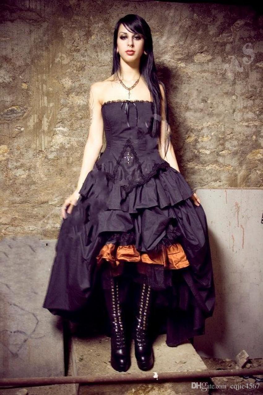 Victorian Wedding dresses 2019 New Steampunk Gothic Lolita Inspired Vampire Black Custom Wedding Bridal Gowns Plus Size Formal Wear 530