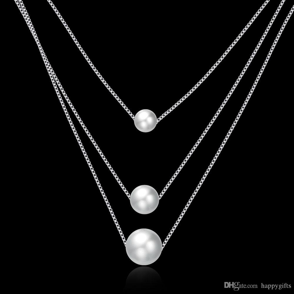 925 sterling silver necklace Three layer pearl pendant with chain fashion necklace gorgeous wedding & engagement necklace