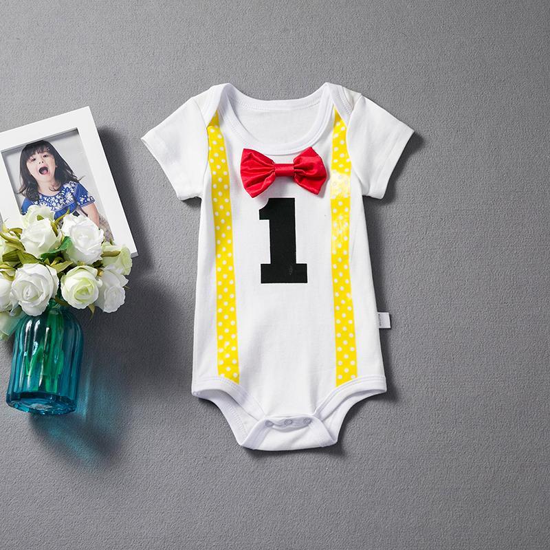 c25efcd42 2018 Baby Boy 1st Birthday Romper Little Boys Summer Clothes Infant ...