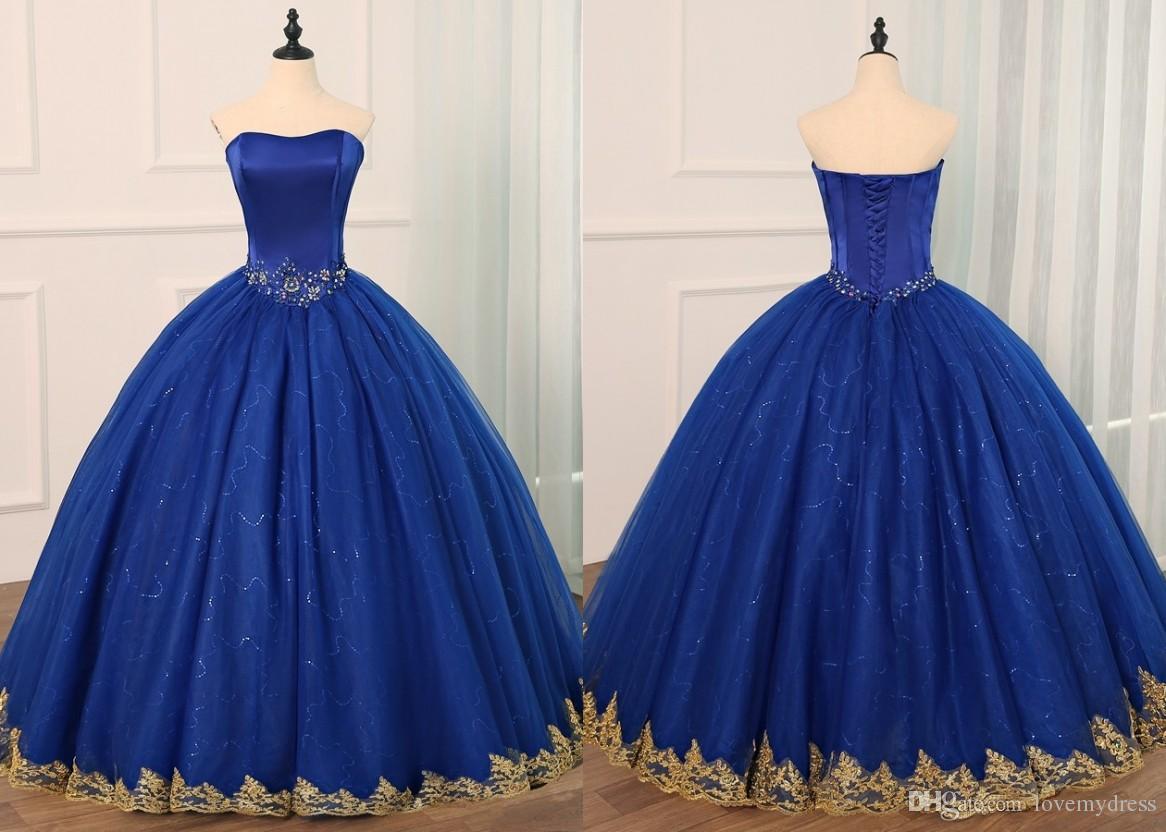 Acquista blu royal con applique in pizzo oro quinceanera prom
