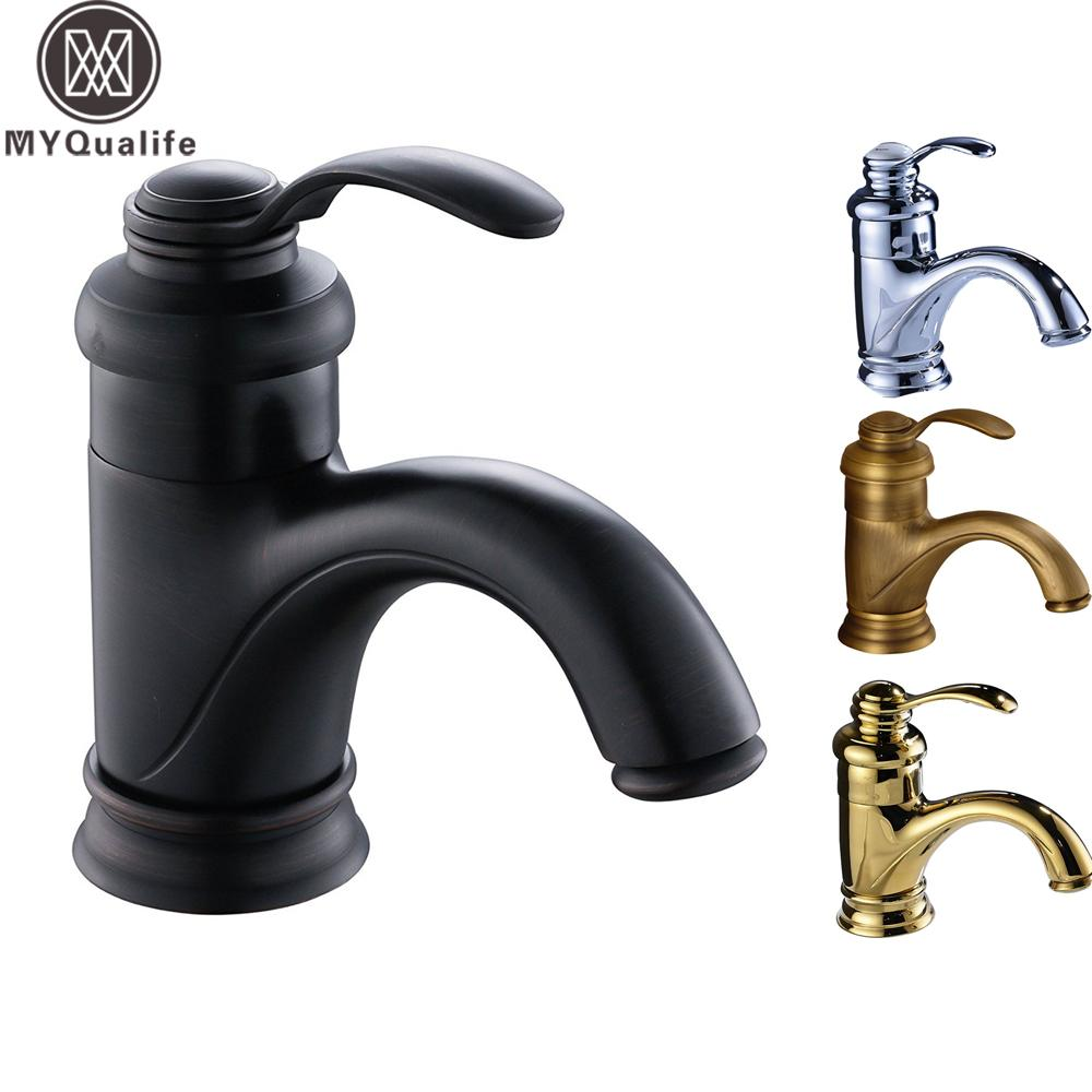 Brass Hot And Cold Basin Faucet Single Handle One Hole Bathroom ...