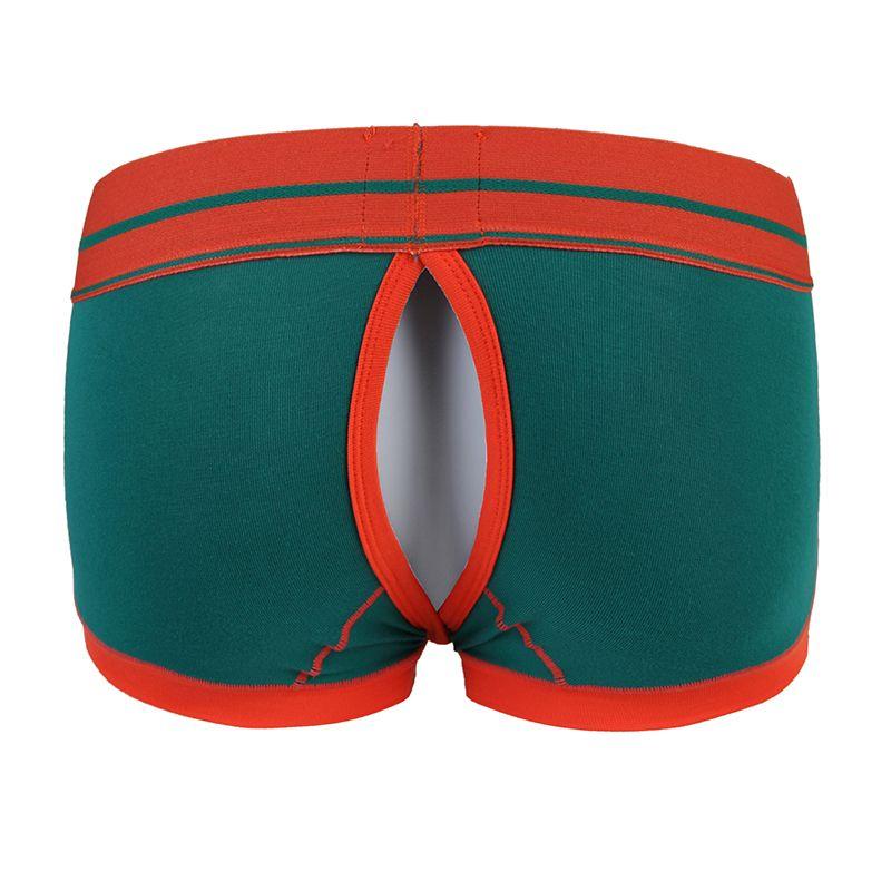 Novità Gay T-back Boxer Shorts Apertura a bottoni Sexy Gay Erotico Mutandine da uomo Shorts U Convesso Custodia Mutande Uomo Boxer Intimo Panty
