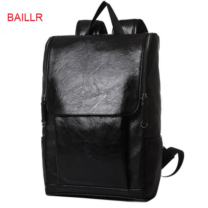 0b487487d7b8 BAILLR Pretty Style PU Leather Men Black 15 Inches Backpack Fashion Male  Casual Boy School Shoulder Bags For Men S Backpack P170 Cool Backpacks  Travel ...