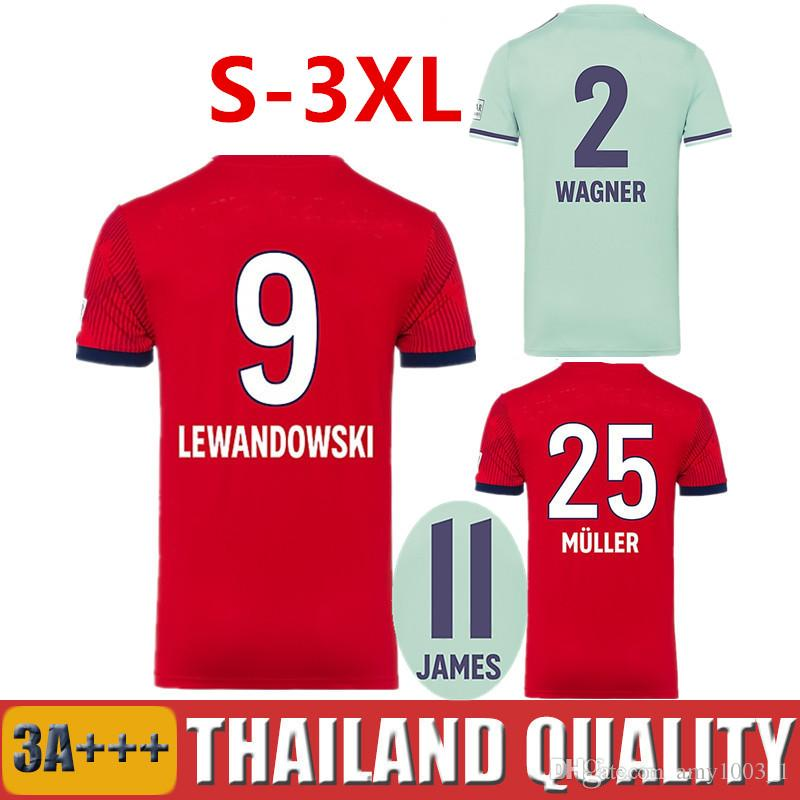 2018 2019 JAMES LEWANDOWSKI WAGNER Home Red Soccer Jerseys 18 19 ... 7e6d1e17e