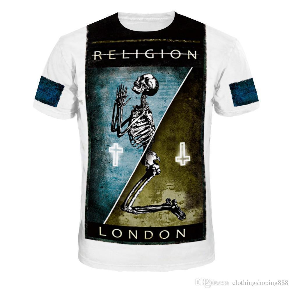 8e193261a3a4 2018 Brand Skull T Shirt Skeleton T-shirt Gun Tshirt Gothic Shirts ...
