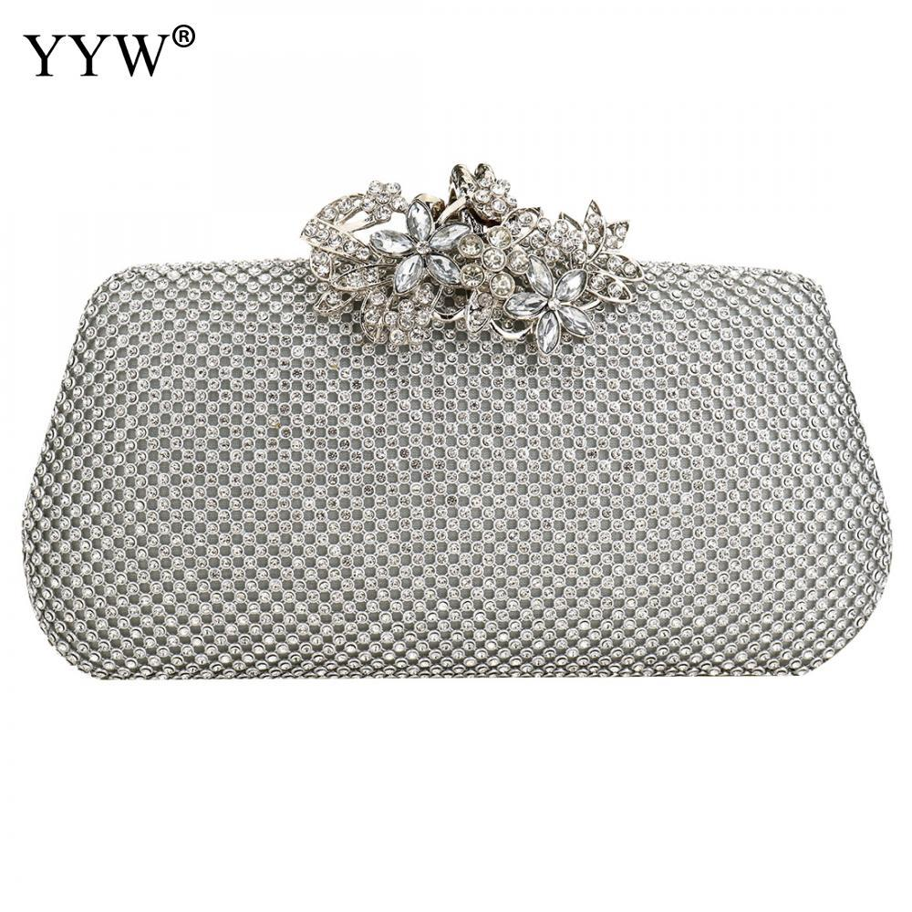 2f6af7fb7f Women Evening Clutch Bag Diamond Rhinestone Clutch Purse Crystal Day Wallet Wedding  Purse Party Banquet Black Gold Silver Hobo Bags Leather Handbags From ...