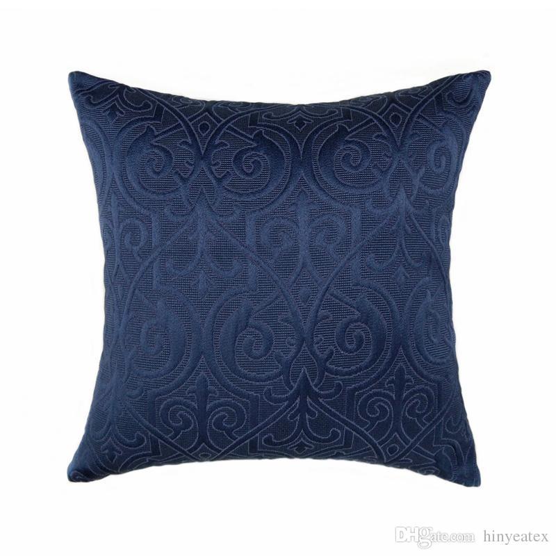 Luxurious Vintage Interior Indigo Blue Home Decorative Pillow Case 45x45cm Jacquard Woven Floor Sofa Chair Living Room Cushion Cover Patio