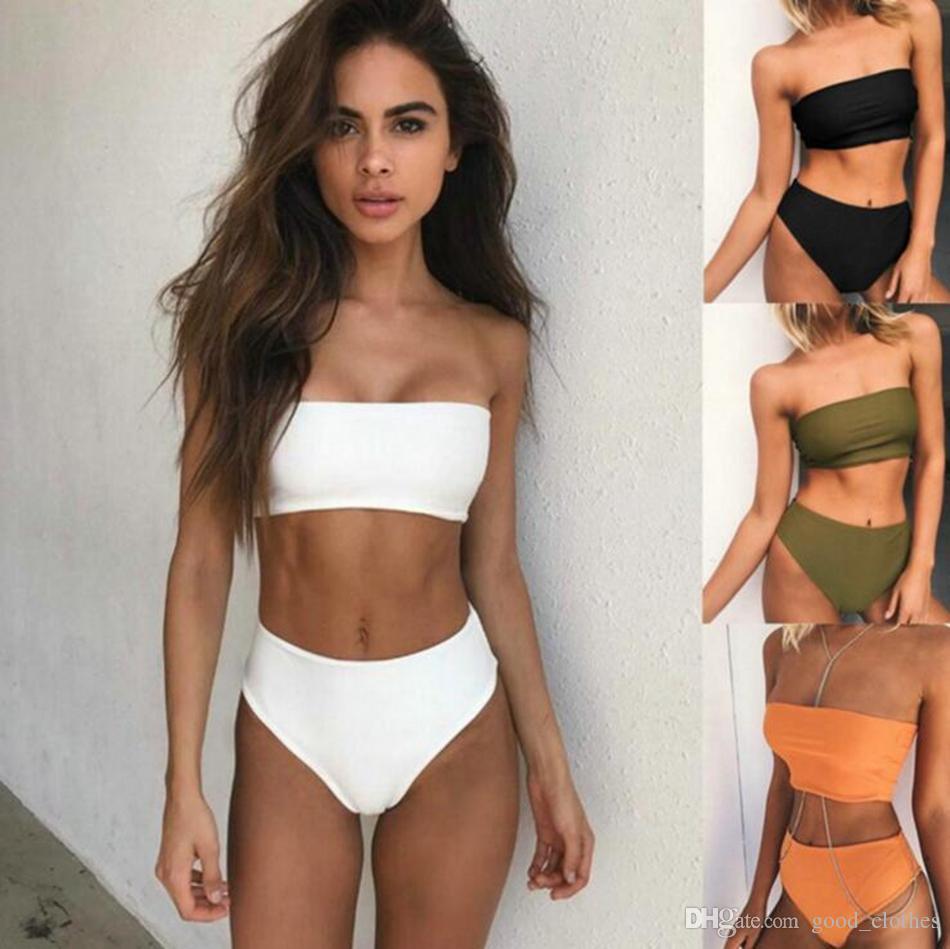 e3c98cf809 2019 Women Solid Strapless Bikini Boob Tube Top High Waist Swimsuit Swimwear  Solid Color Bathing Suit Sexy Biquini LJJO3906 From Good_clothes, ...