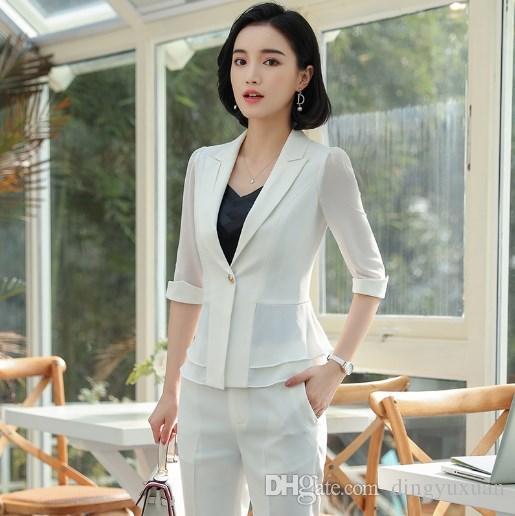 6200afe1fe7a 2018 Traje formal de verano para mujer Oficina informal Negocio Suitspant  Conjuntos de ropa de trabajo Estilos uniformes Elegantes trajes de pantalón  ...
