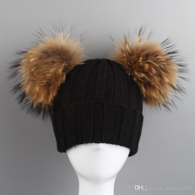 2019 Kids Real 14cm Fur Pom Pom Hats Baby Winter Hat Girls Boys Knitted  Beanie Double Real Fur Pompom Cap For Children From Zoedai1991 b997904bc19