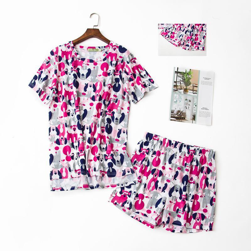 6d7da3c7cafb 2019 Sexy Purple Cute Dogs Shorts Pajamas Sets Women Short Sleeves 100%  Cotton Summer Pijama Sleepwear Casual Women Pyjamas Sets From Regine