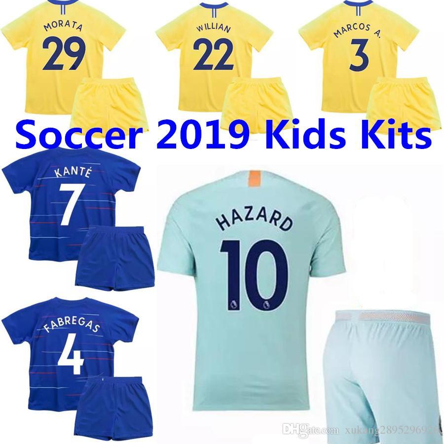 Compre 2018 2019 Camiseta De Fútbol Del Chelsea Kits De Niños MORATA 18 19  HAZARD HOME KANTE MARCOS FABREGAS JORGINHO WILLIAN PEDRO KOVACIC Camiseta  De ... a2da5ed2c889e