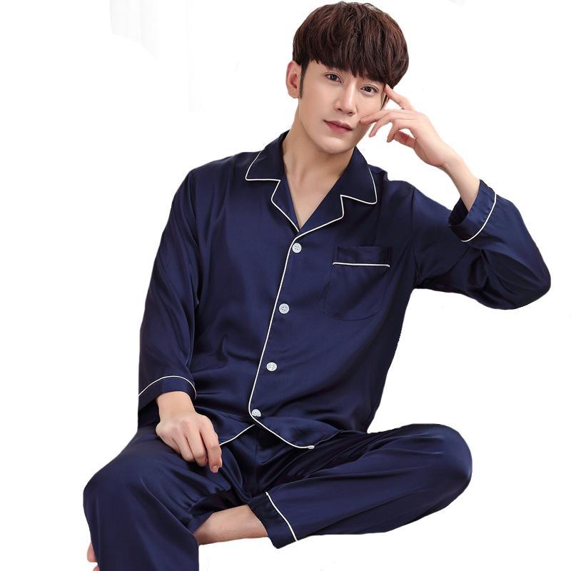 2018 Satin Male Sleepwear Long Sleeve Nightwear Suit Spring New ... f59fba555