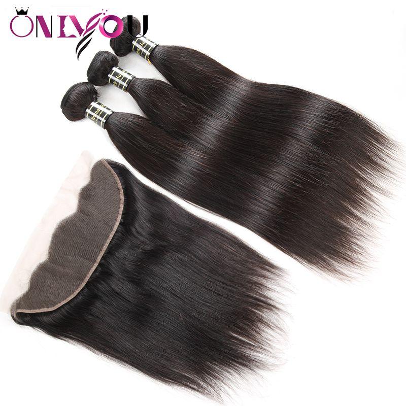 9A Grade Peruvian Straight Virgin Human Hair Weave Bundles with Lace Frontal Closure 3 Bundles with Closure Ear to Ear Straight Weaves Wefts