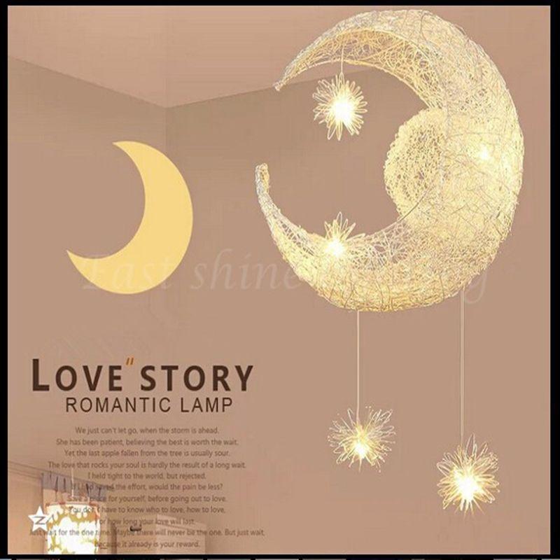 LED G4 Lichtquelle, Moon Star Lampe - moderne Kinder Kind Kind Schlafzimmer Neuheit Pendelleuchte Kronleuchter Licht Decke Aluminium