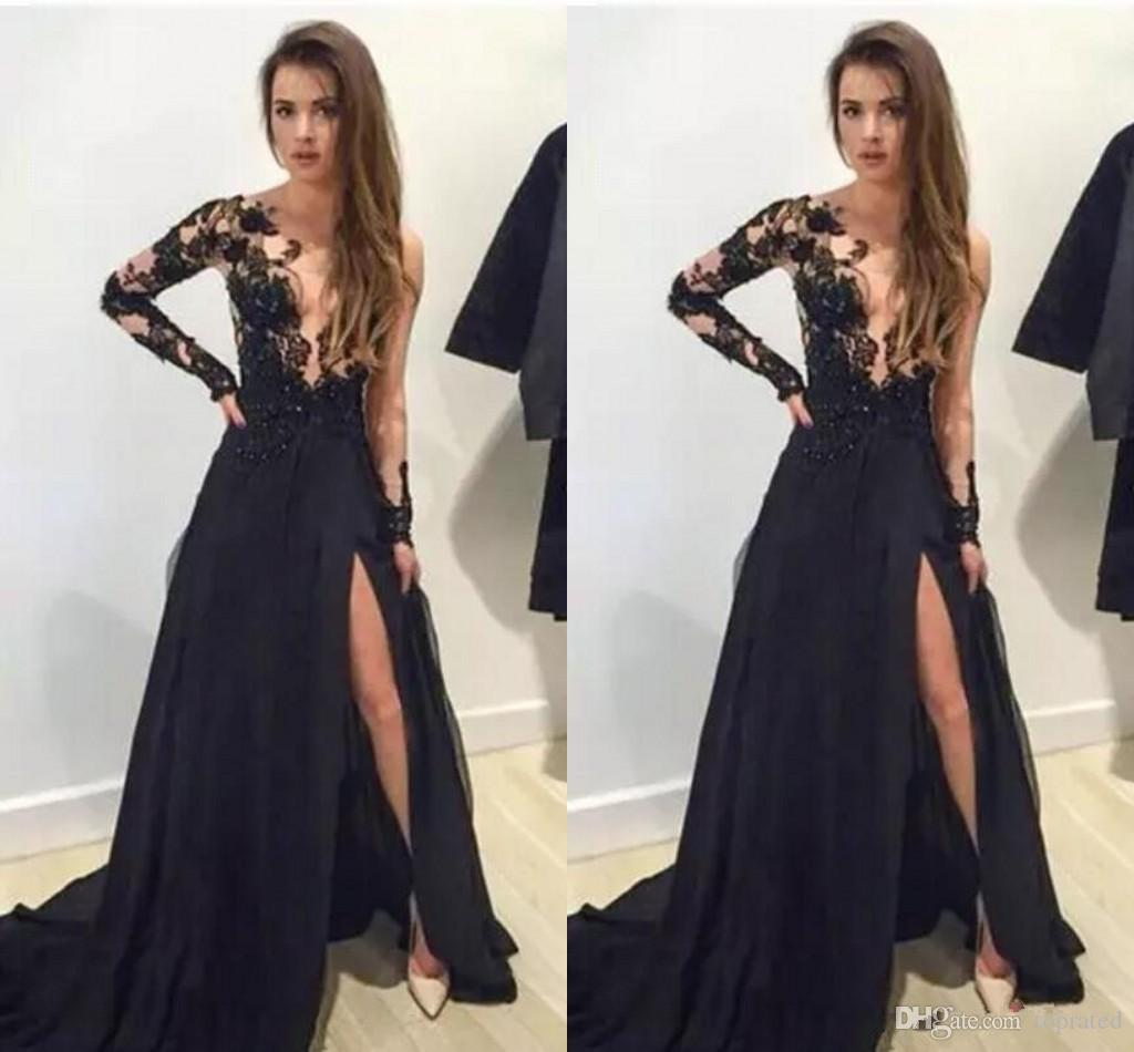 Sexy Black Prom Dresses Deep V Neck Beaded Long Sleeves Cocktail Dresses Vestidos Appliques Side Split Floor Length Formal Party Gowns 2017