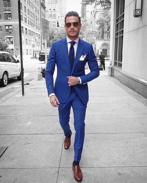 Özel Kraliyet Mavi Erkekler Takım Elbise Yaz Slim Fit Smokin 2 Parça Blazer Balo Damat Terzi Takım Elbise Ceket + Pantolon