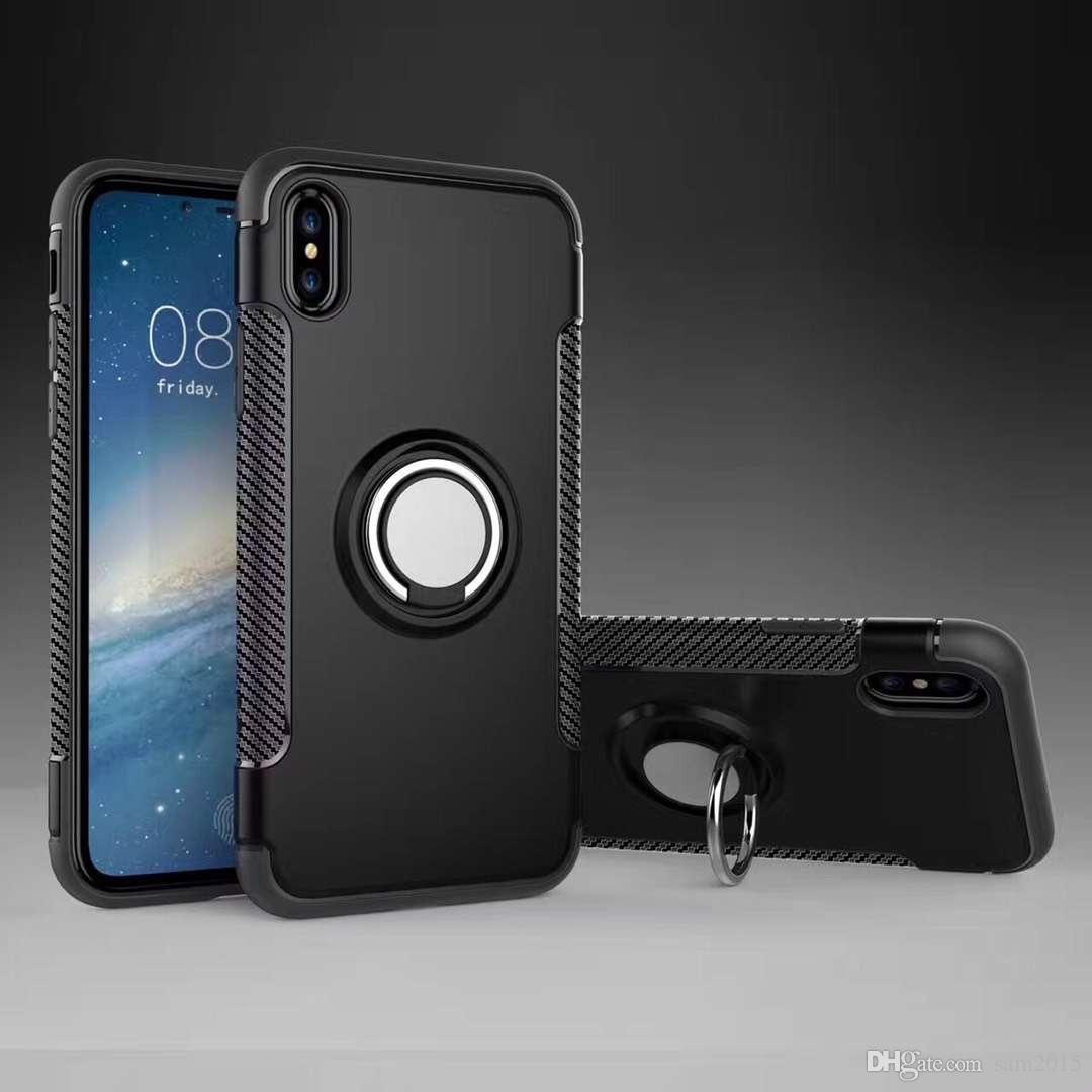 Hybrid TPU+PC 2-in-1 Armor Case Shock-Proof Cases 360 Ring Stand Holder Magnetic Back Cover For iPhone X R S max 7/8 pluus 6/6s 5 S9 s10 s8