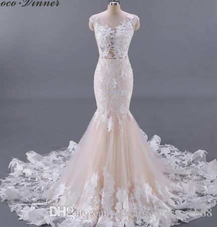 6b301ace57 C.V Quality Vestido De Noiva Backless Floral Appliques Sexy Wedding Dress  2018 Champagne Color Mermaid Wedding Dresses W0045 Strapless Dresses Tea  Length ...