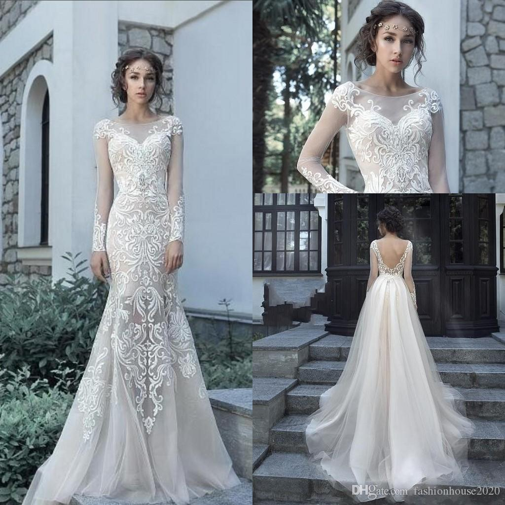 bd5aab4f6c82 Milva Mermaid Wedding Dresses Bateau Neck 2018 Illusion Long Sleeves Lace  Applique Sweep Train Plus Size Overskirts Backless Bridal Gowns Best Wedding  ...