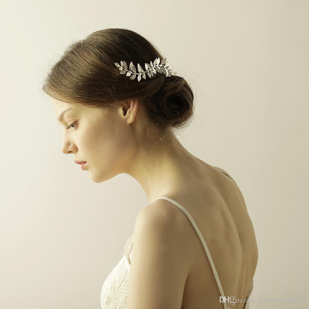 Neue Ankunft 2018 glänzt Blätter Kämme für Hochzeit Wellenförmige Braut Kopfschmuck Haarschmuck Tiara Handmade Leaf Charms Bridal Zubehör
