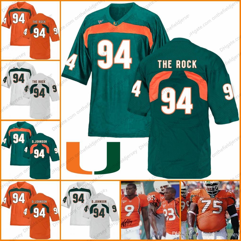 88c2ad03216 2019 Miami Hurricanes  94 The Rock Dwayne Johnson D.Johnson 83 Sam Shields 75  Vince Wilfork 9 Sam Shields NCAA College Football Jerseys S 3XL From ...