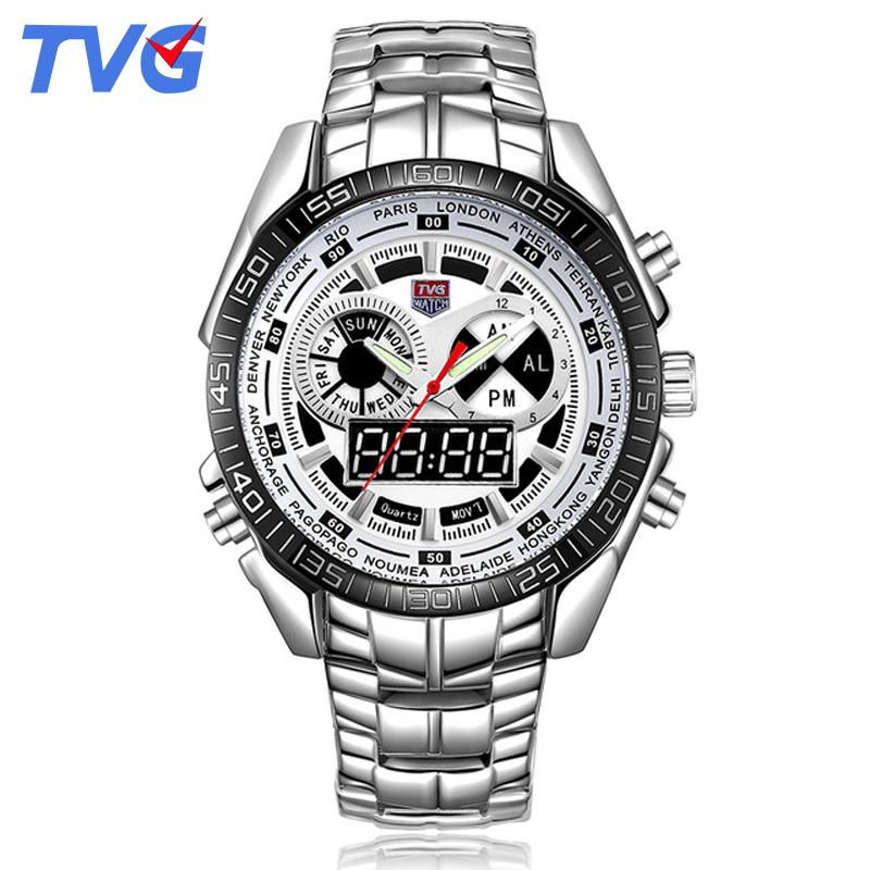 TVG Mens Watches Top  Stainless Steel Strap Waterproof Quartz Analog Display Date Day Week Digital Watches for Boys