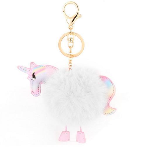 Lovely Fluffy Unicorn Pony Keychains Keyrings Horse Bag Pendant Artificial Rabbit Fur Key Chain Ring Holder For Car