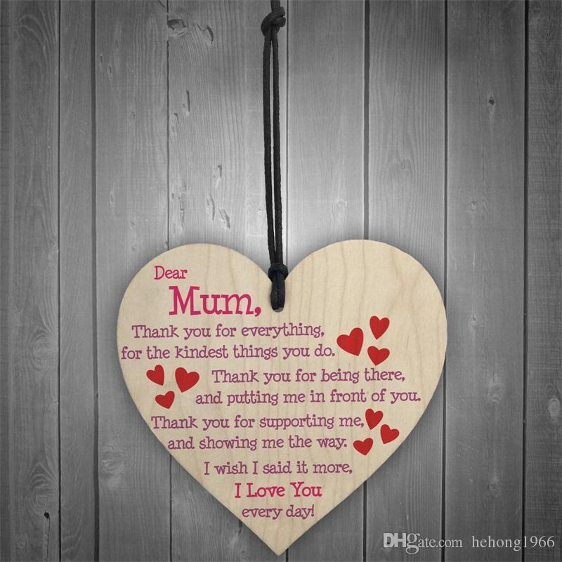 Großhandel Holz Herzform Liebe Anhänger Für Glückliche Muttertag