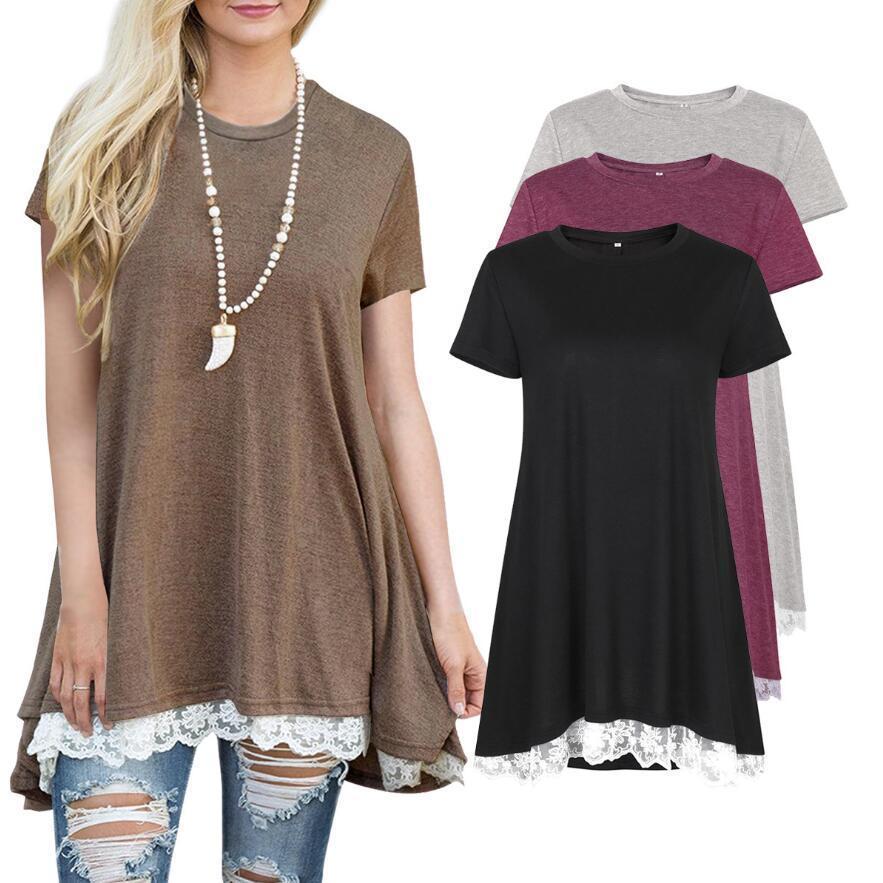 a5aa70212bc New Spring Summer 2019 Casual Women T Shirt Short Sleeve O Neck Long Shirt Plus  Size Women Clothing Hem Splice Lace Women Tops Mens Tee Shirts Rude T  Shirts ...