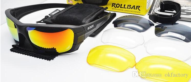 a04417ed90f ESS 4 Lenses Rollbar Polarized Sunglasses UV Protection Military Glasses  TR90 Army Google Bullet-proof Cycling Eyewear Vole JBR Eyewear Sunglasses  Cycling ...