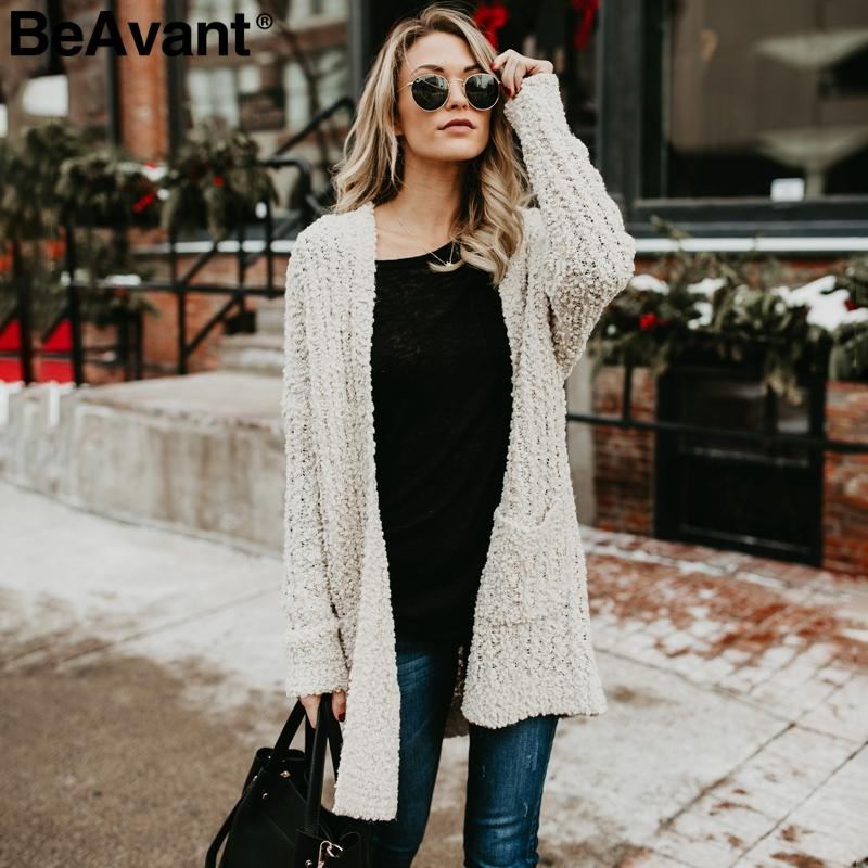 d9b68ba2af 2019 BeAvant Casual Chenille Pockets Knitted Cardigan Women Soft Oversized  Long Cardigan Sweaters 2018 Tricot Winter Pink Sweater From Cactuse