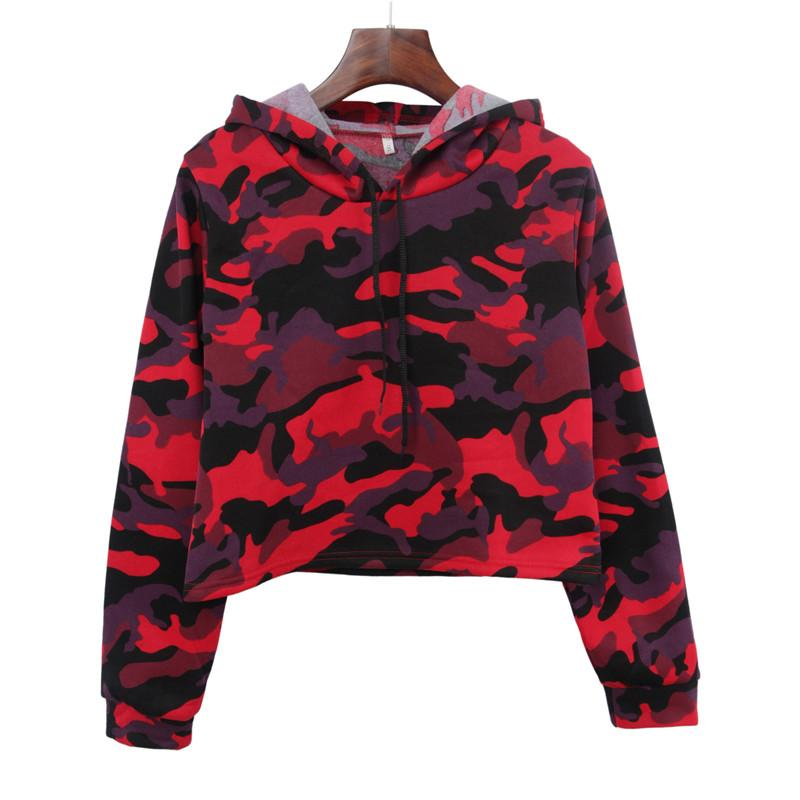 8b021489ef7 Autumn And Winter New Short Paragraph Navel Long-sleeved Camouflage Plus  Velvet Hooded Pullover Sweater Women Sweater Camouflage Exposed Navel  Online with ...