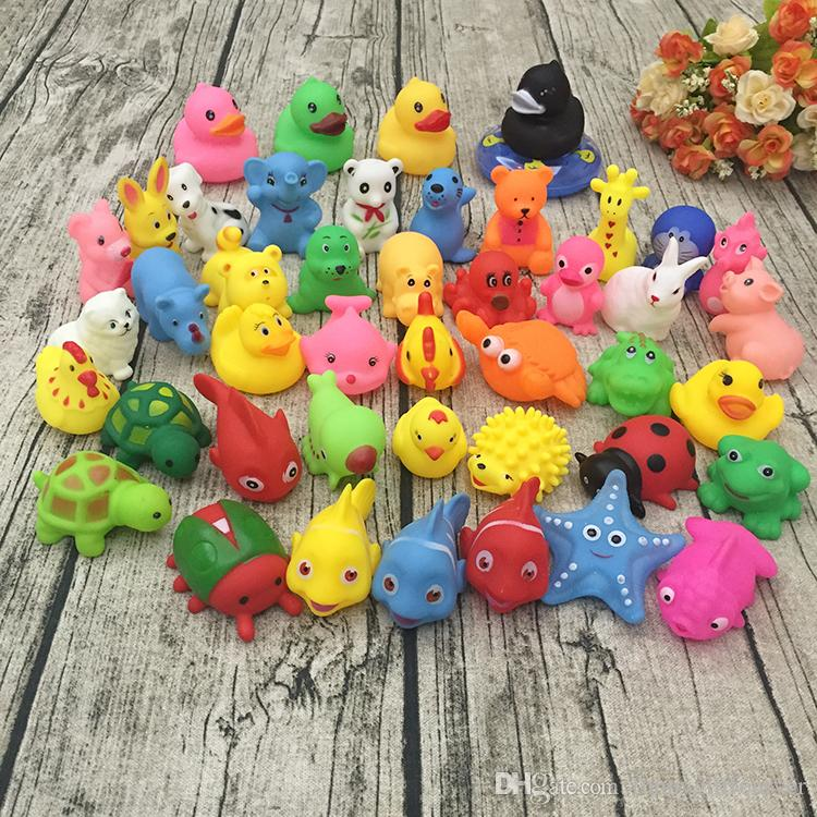 Wholesale Baby Bath Toys Water Floating Yellow Ducks Toys Sound Mini Rubber Ducks Dolls Animal Cartoon Starfish Toy Beach Gifts EMS DHL