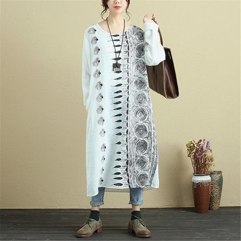 004d0d9f3 2019 BUYKUD 2018 Spring& Autumn Printed White Dress Women Loose Casual  Dresses Round Neck Long Sleeve Midi Robe Dress With Pockets From Honey111,  ...