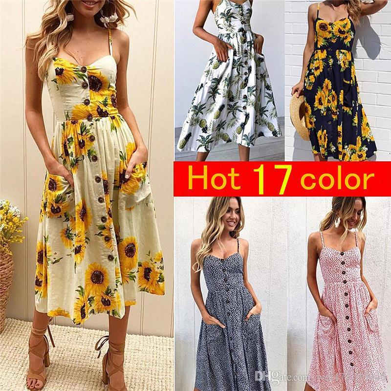 8665365c003d Women Summer Boho Dress Beach Evening Party Dress Sexy Sling Sundress Casual  Printing Dresses Plus Size S 3XL Casual Evening Dresses Womens Sundress  From ...