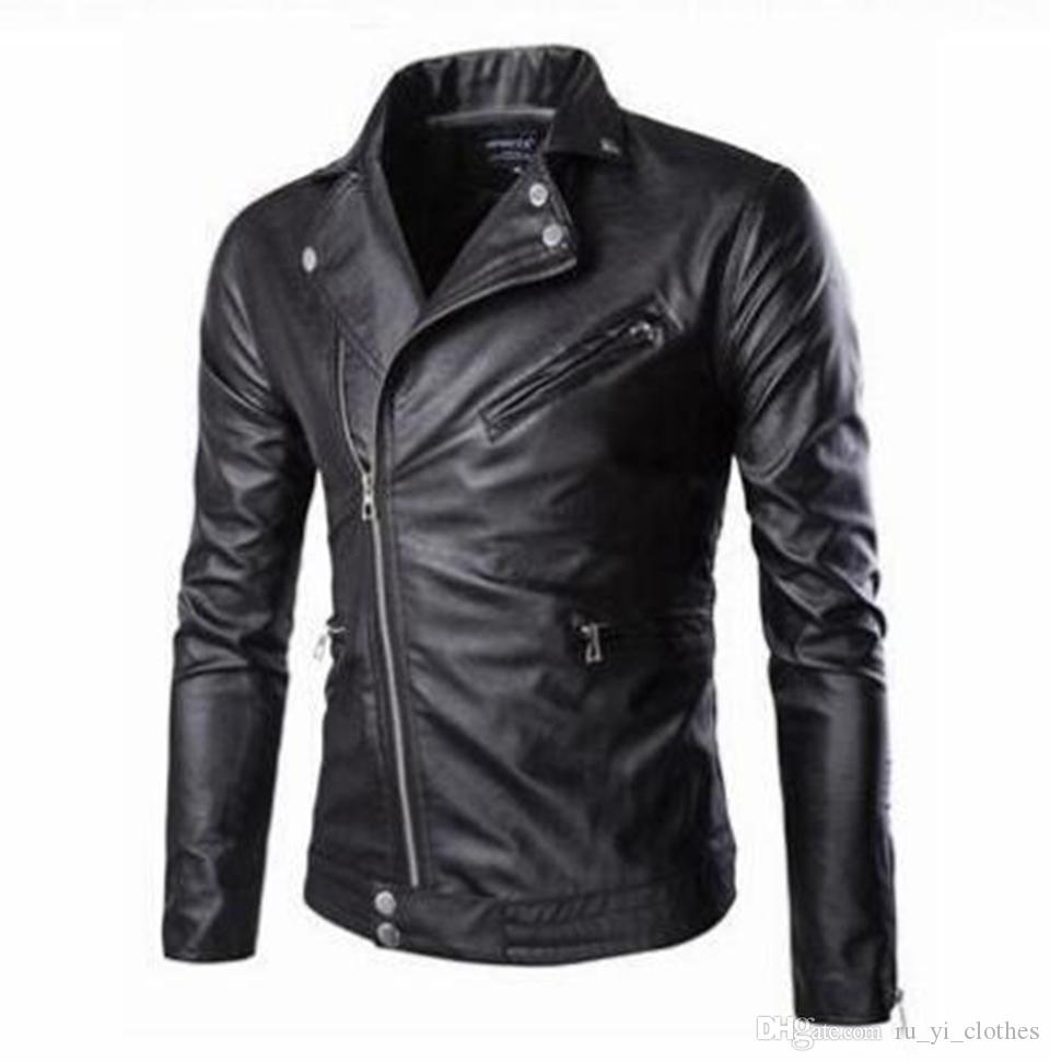 Men's fall European American and Korean style slim British short style boutique blue hair stylist motorcycle leather coat /M-5XL