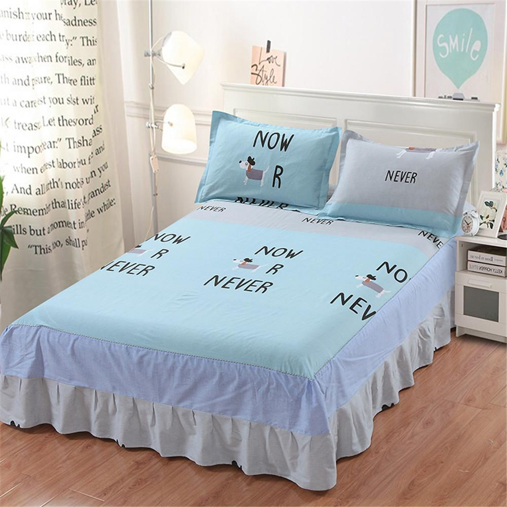 Blue Black White Puppy Animal Bedding Bed Skirt Elastic Mattress