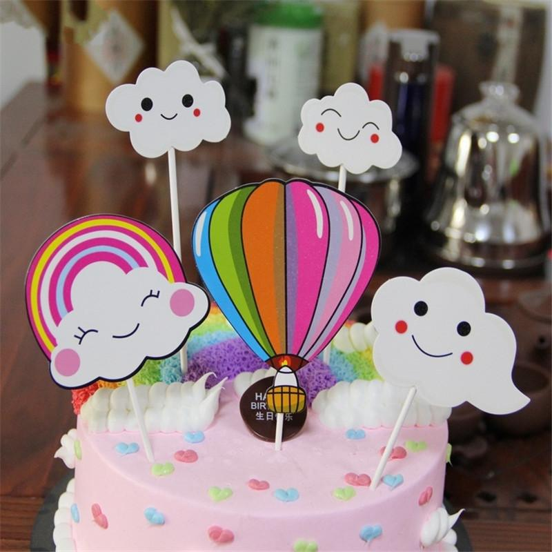 2019 Cloud Balloon Rainbow Happy Birthday Cake Toppers Decoration Kids Decorating Pick Pock Flags Tool Party Supplies From Haoxingarden