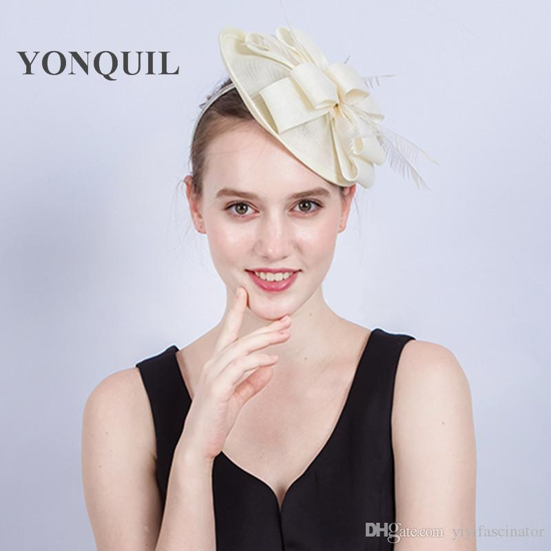 b184875d0db Multiple Colors Women Fancy Imitation Sinamay Fascinator Hats Ivory Bridal  Wedding Hats Gril Kentucky Derby Cocktail Hat With Feather SYF214 Wedding  Hats ...
