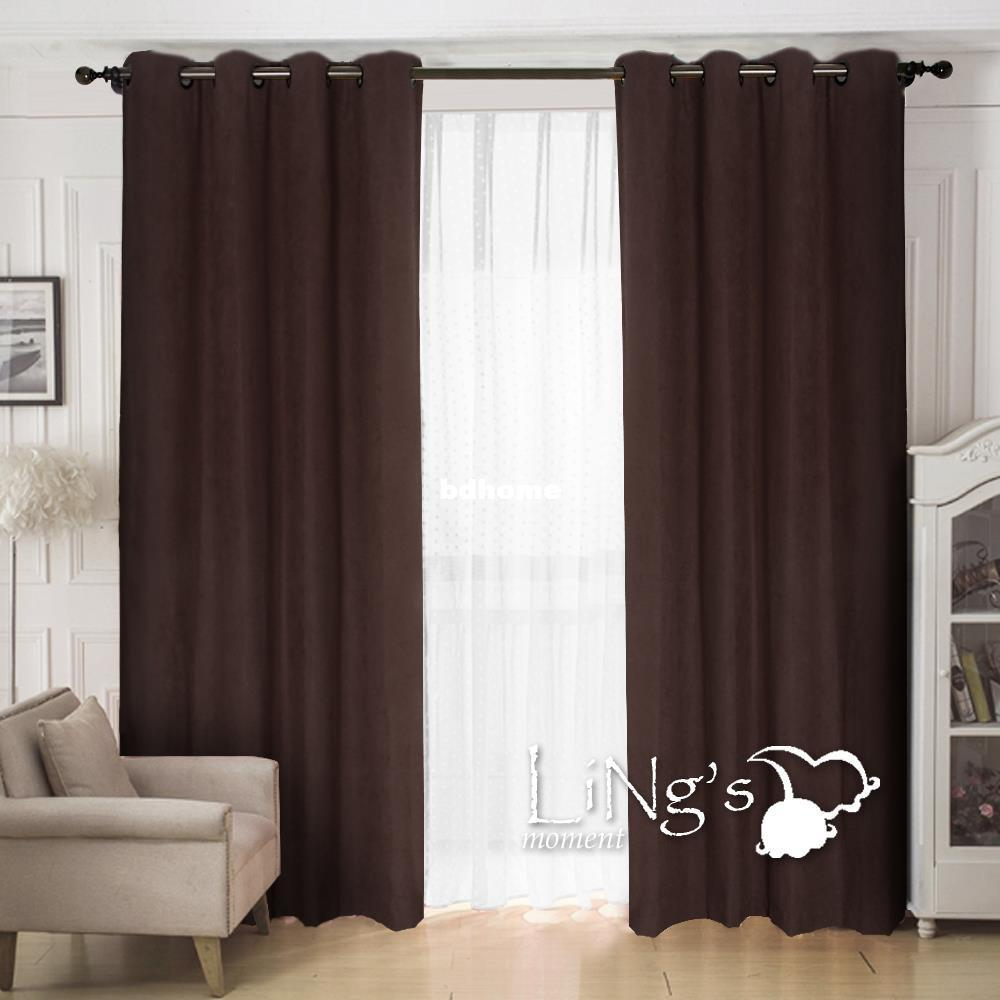 LiNg's Solid Color Faux Suede Curtain For Living Room Ready Made Eyelet Ring Top Window Home Decoration