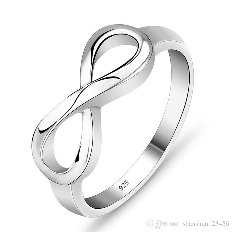 2018 2018 New Silver Infinity Ring Sign Band Rings Women Fashion ...