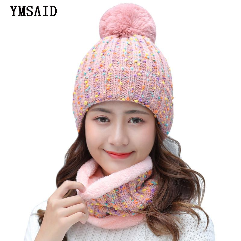 110adfb3263 Ymsaid 2018 New Fashion Women Warm Winter Set Of Ladies Girl Caps With  Scarf Neckerchief Top Quality Balaclava Knitted Hat D18110601 Hats For Sale  Hats ...
