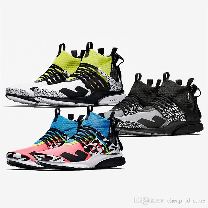 Acronym X Presto Mid Running Shoes Men Trainers Women Designer Sports  Sneakers Hot Lava Dynamic Yellow Racer Pink Cool Grey 36 45 Men Shoes On Sale  Shoes ... f8a65192e