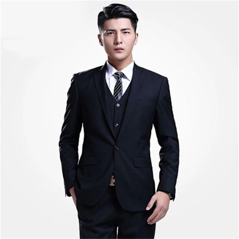 63f7cd79207 2017 Smoking Tuxedo Custom Made New Business Casual Mens Suits Slim  Gentelman Wedding men suit (jacket+pants+vest)