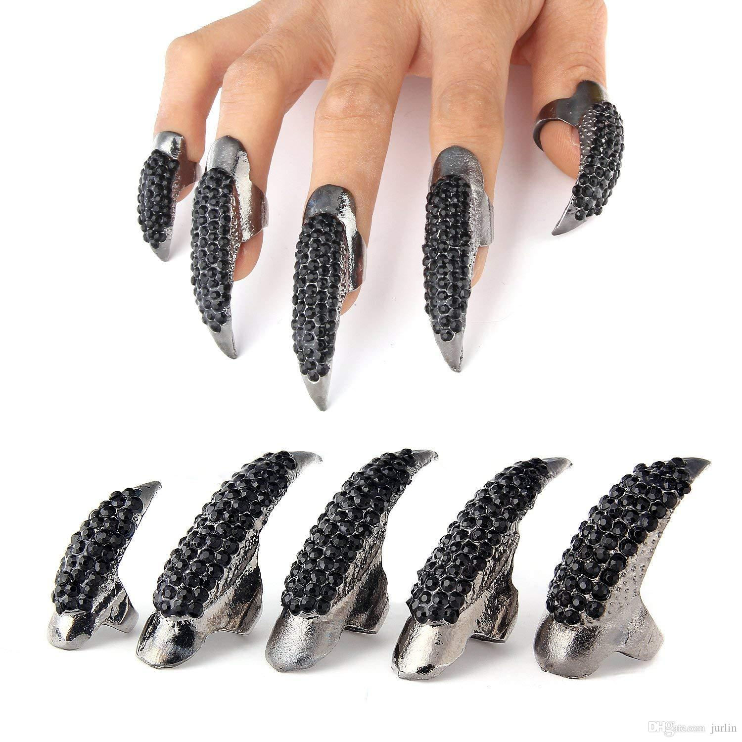 Punk Style Crystal Rhinestone Paved Paw Bend Fingertip Finger Claw Ring Set Fake False Nails Set (Black,10PCS)