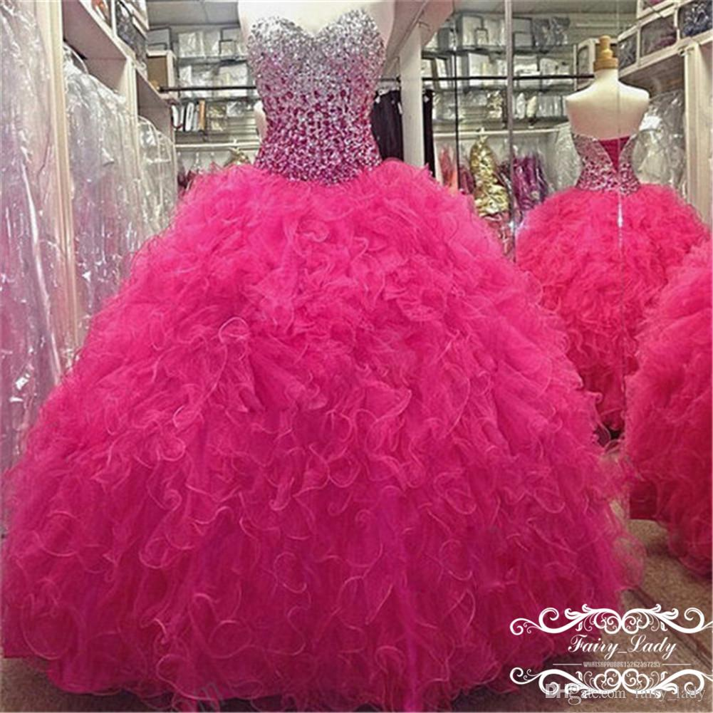 Luxury Rhinestone Crystal Hot Pink Tulle Quinceanera Dresses 2018 Tiered Ruffles Ball Gown Long Sweet 16 Dress Vestidos De 15 Anos