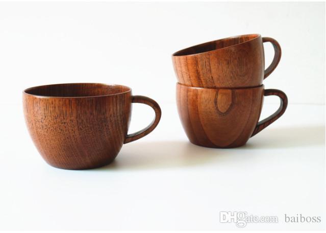 Taza de té de madera 5oz copas de vino de madera natural 150ml tazas de café de madera tazas de leche de jugo de cerveza EA492220