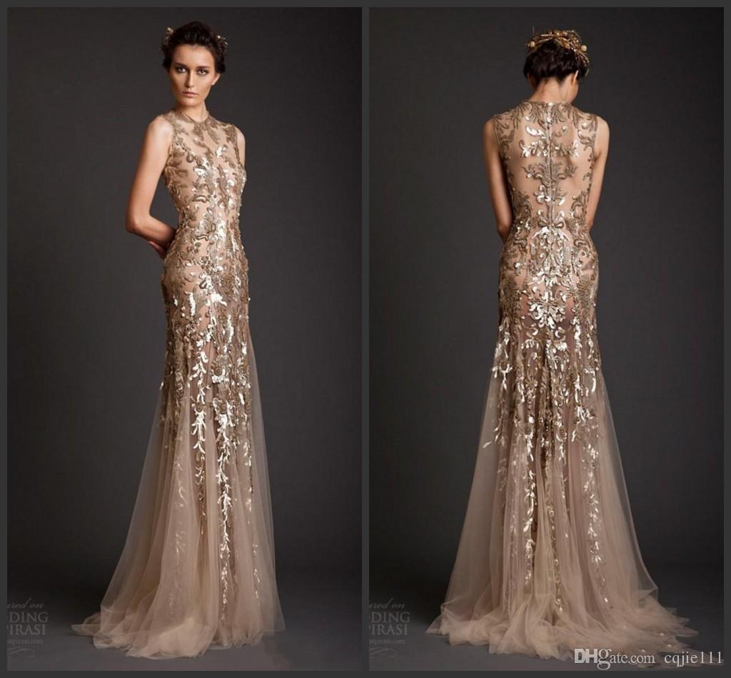 Großhandel Abendkleider 10 Gold Mermaid Shape Tüll Sheer Durchsichtig  Applikationen Abendkleid Emboridery Lange Formale Dubai Kleider Vestidos De